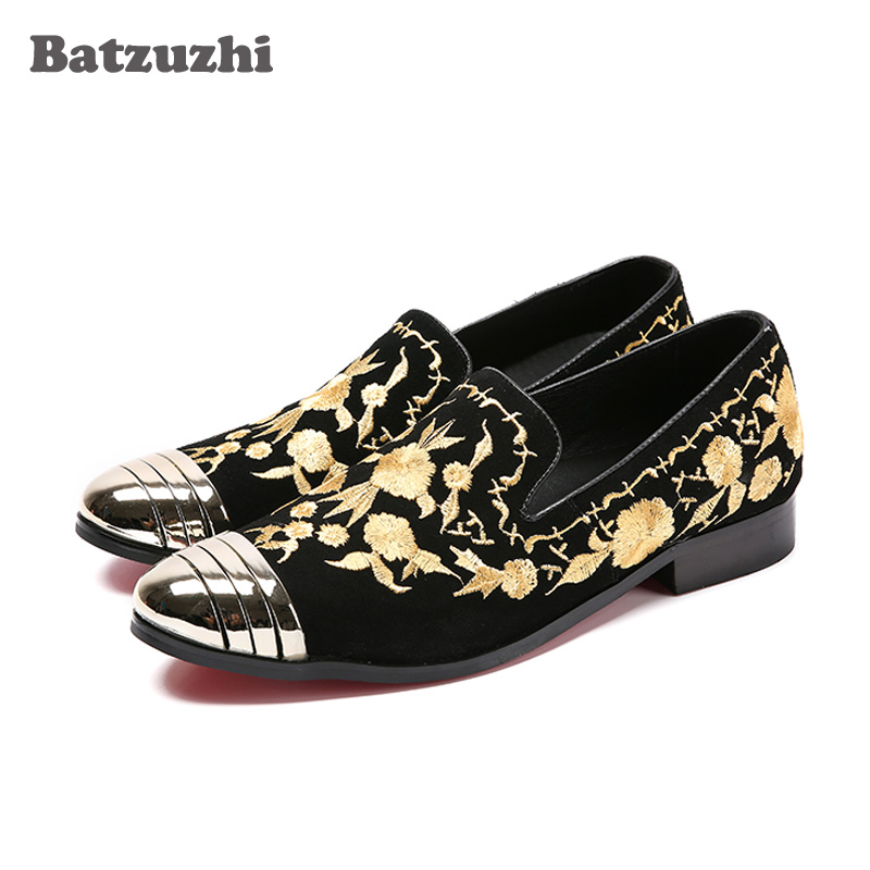 Batzuzhi New Italian Men's Flats Men Slip-On Loafers Shoes Black Suede with Embroidery Men Casual Shoes Size EU38-46! Sapatos 2017 summer new fashion sexy lace ladies flats shoes womens pointed toe shallow flats shoes black slip on casual loafers t033109