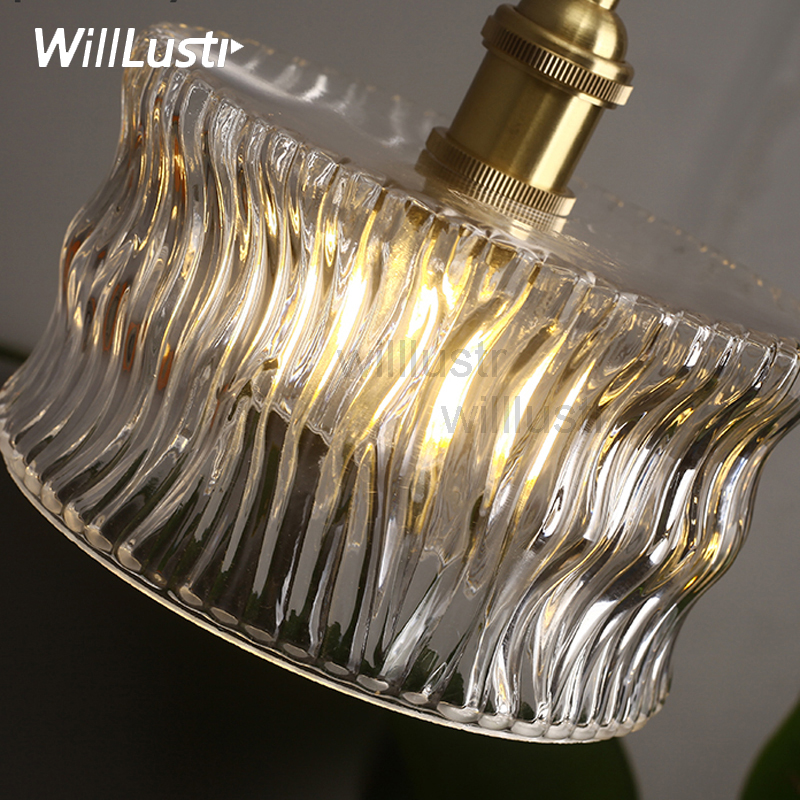 handmade ribbed wave glass brass pendant lamp clear crystal Japan nordic antique retro hotel bedroom suspension light fixture