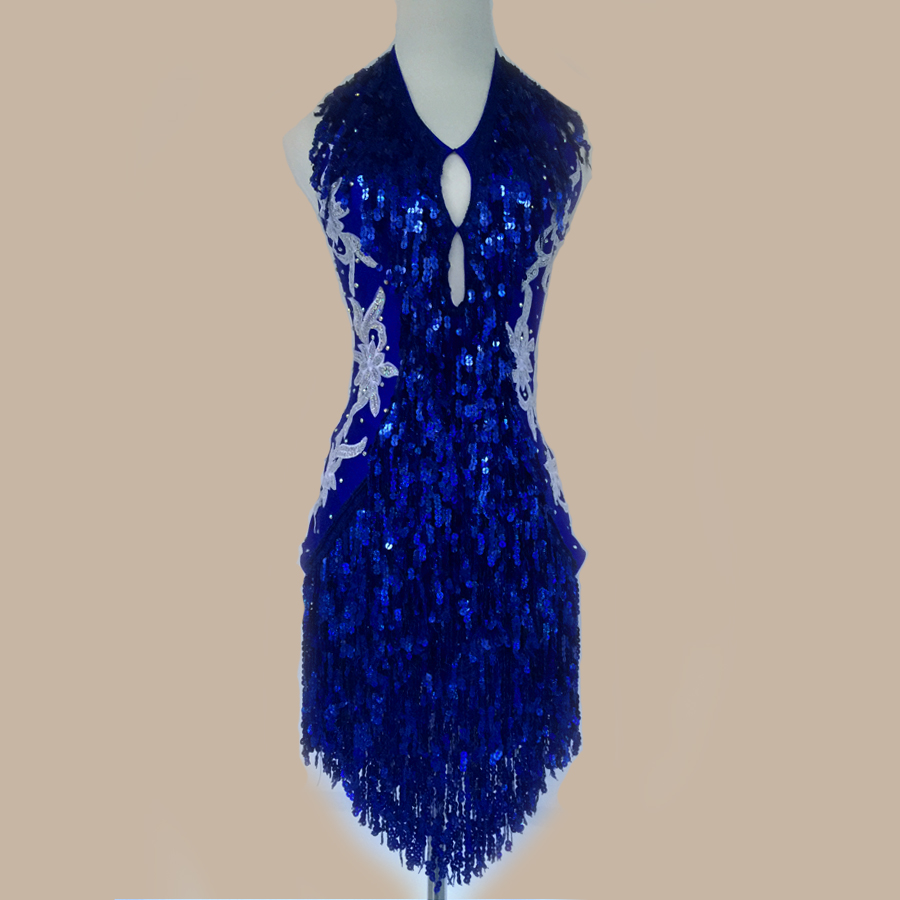New Style Latin Dance Costume Sexy Sequins Tassel Latin