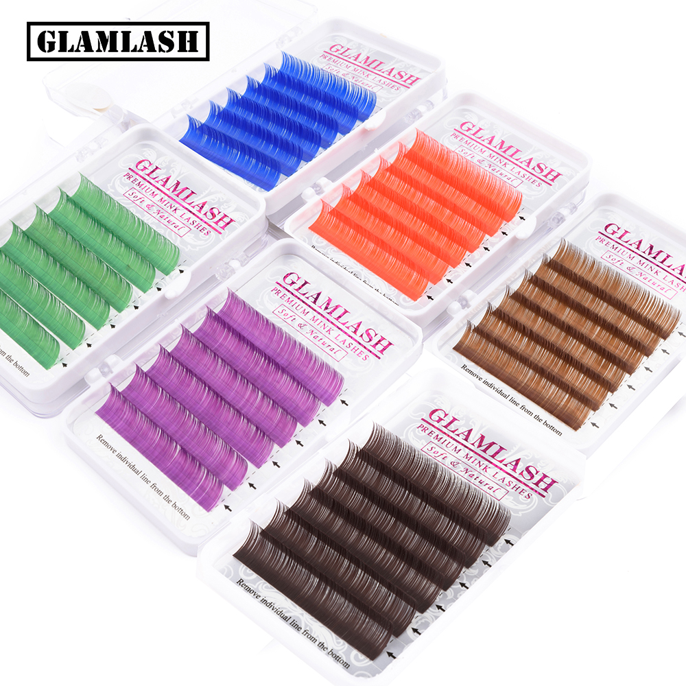 GLAMLASH Natural Soft Purple Blue Brown Green Red Color Eyelash Extension Premium Individual Mink Lash Makeup Cilio For Building