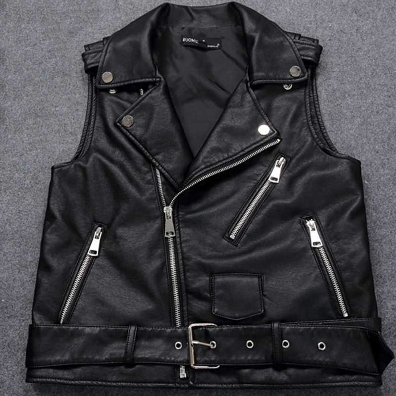 4XL Plus Size Female Motorcycle Waistcoat Black Leather Vest Women Sleeveless Biker Jacket With Belt