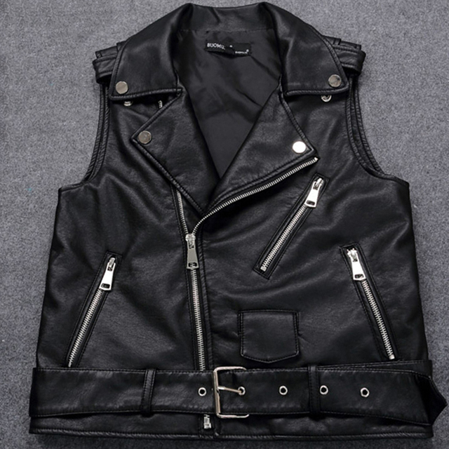 34b3fa44663 4XL Plus Size Female Motorcycle Waistcoat Black Leather Vest Women  Sleeveless Biker Jacket With Belt