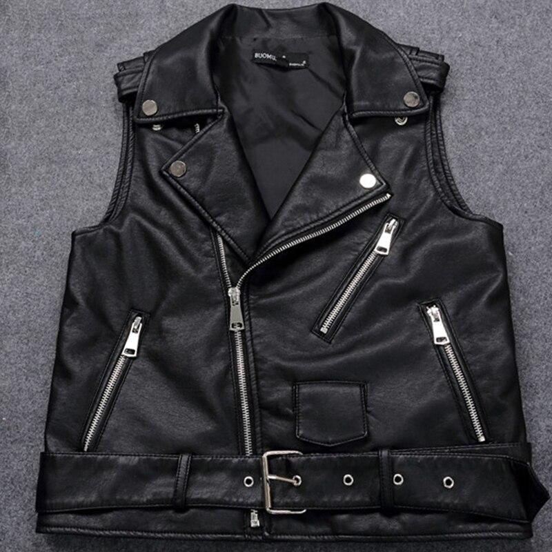 4XL grande taille femme moto gilet noir en cuir gilet femmes sans manches Biker veste avec ceinture