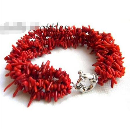 Wholesale price 16new ^^^^Amazing 5Strands 18'' 7MM Dendritic Coral Bracelet