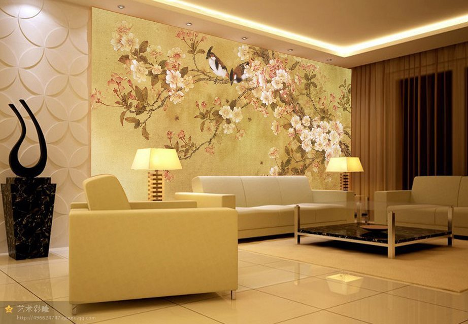chinese style drawing tv painting tile sculpture brick background ...