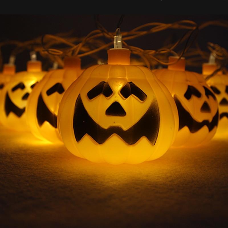 Halloween 3D Plastic Pumpkin String Lights 16LED Orange Pumpkin Lights Halloween Holiday Decoration Lanterns Light 2M
