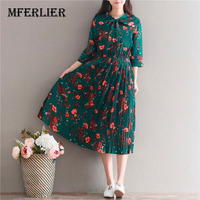 Women Dress Casual Literature Vintage Flower Print Chiffon Draped Dress Three Quarter Sleeve Butterfly Collar Plus