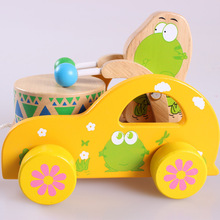Gratis verzending Baby Sleep the toddler of car, Kids Wooden Toy, Leren en opvoeden van babyspeelgoed, Drawable Hand-pushed Kada Car