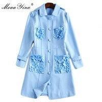 MoaaYina Fashion Designer Runway Dress Spring Autumn Women's Long sleeve Applique Button Casual Elegant Dress Female clothes