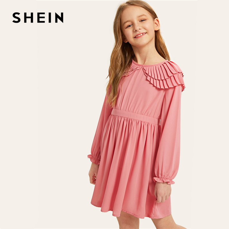 цена SHEIN Kiddie Pink Layered Pleated Ruffle Korean Children Short Girls Dress 2019 Summer Long Sleeve A Line Kids Dresses For Girl