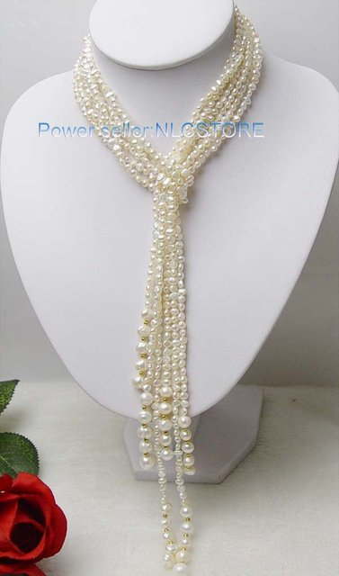 Free shipWow! superb long shawl pearl necklace gift