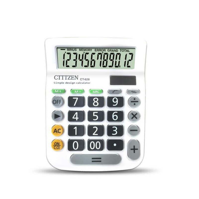 12 Digit Desk Calculator Large Buttons Financial Business Accounting Tool  white big buttons12 Digit Desk Calculator Large Buttons Financial Business Accounting Tool  white big buttons