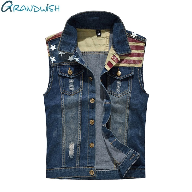 Grandwish Pleated Design Uomo Denim Vest Plus Size 5xl Denim Vest Maschio Giacche senza maniche Hole lavato Jeans Gilet Mens, PA859