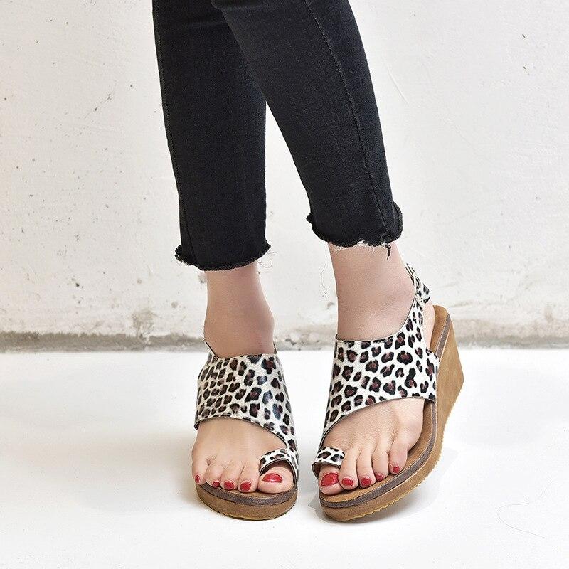 Delle Donne Del Leopardo Sandali Piatti Confortevole Sexy Open Toe Scarpe Leggere Solido Di Modo Di Estate Di Colore Della Punta Dei Sandali Del Vestito