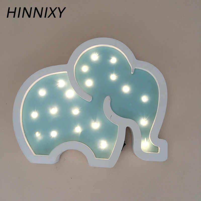 Hinnixy Elephant светодиодный ночник для детей, для девочек, для спальни, Декор, прикроватная лампа, желтый, зеленый, розовый, дерево, милые Настольные светильники, подарки для малышей