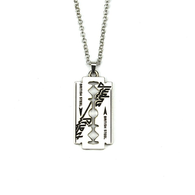 Music band judas priest necklace razor blade shape pendant fashion music band judas priest necklace razor blade shape pendant fashion link chain shaver necklace friendship gift thecheapjerseys Image collections