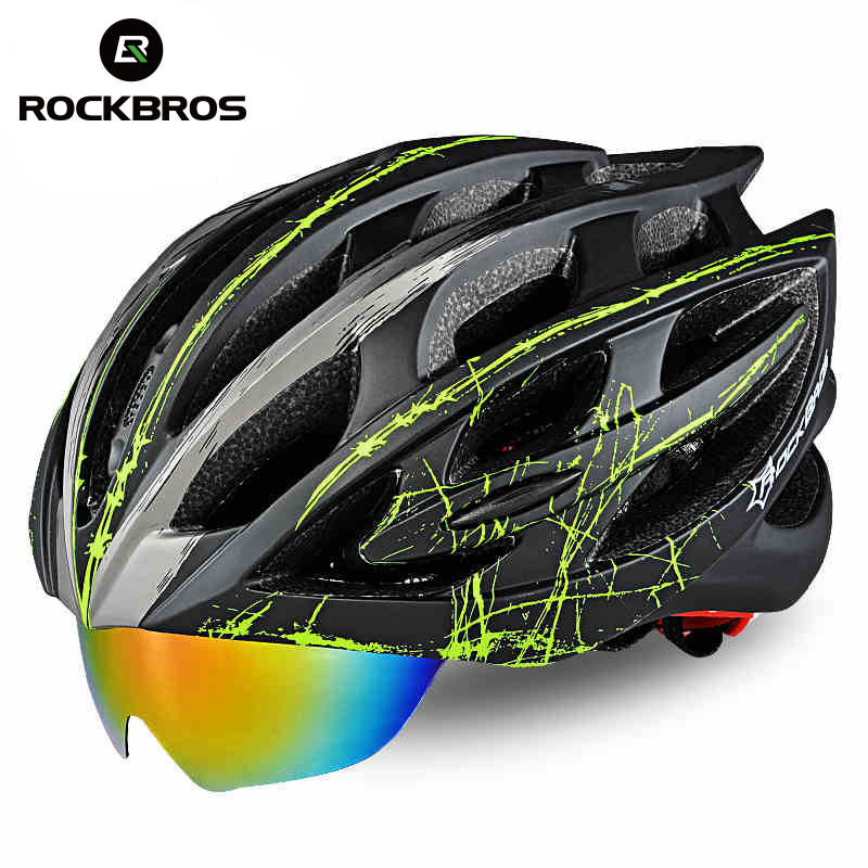 ROCKBROS Bicycle Helmet Integrally-molded Ultralight MTB Road Bike Helmet With Windproof Lens Safety Riding Accessories 57-62 cm bicycle helmet 57 62 cm safety hat for mountain road bike cycling accessories