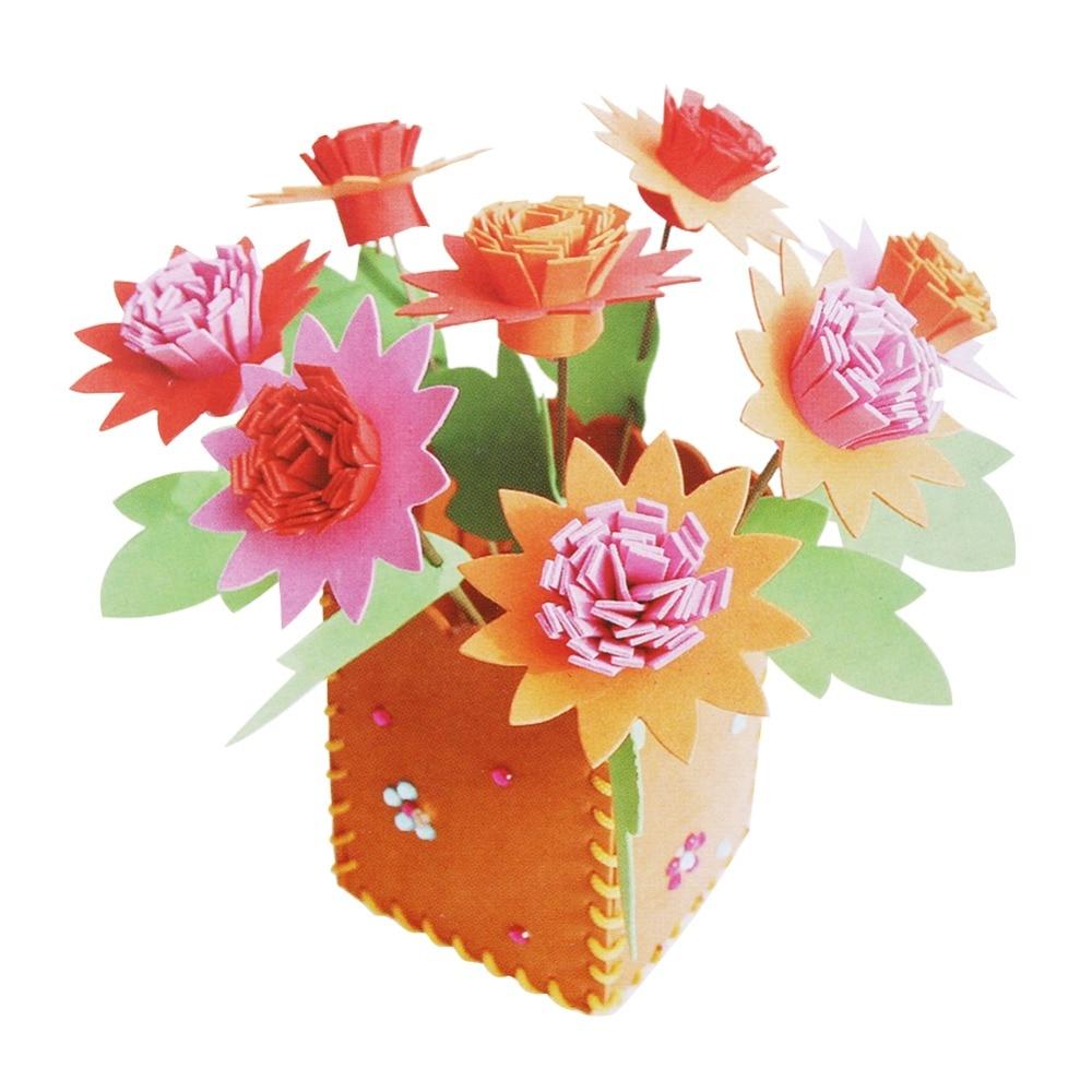 Kids DIY Handworking Flowerpot font b Toy b font 3D EVA Foam Artificial Flower Pot Hand