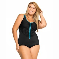 Women's Built in Cup Front Zipper Beachwear Plus Size Swimsuit One Piece Swimwear