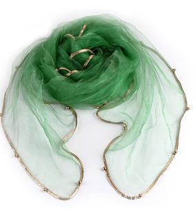 Женский летний Одноцветный полосатый шарф из органзы, украшенный бисером, женский весенний золотой ободок, длинный бисер, тонкая мягкая шаль - Цвет: 6