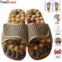 Foot Massage Slippers Shoe Foot Care Reflexology Sandals With Natural Acupuncture Stones Mules, Promote Blood Circulation