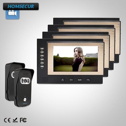 HOMSECUR 7 Видео домофонов безопасности домофон + Dual-Путь Интерком для дома/без каблука: TC021-B Камера (черный) + TM701R-B монитор (черный) ...