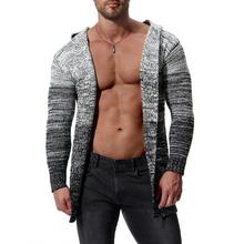 New Product Fashion Paris Stylist style man's hooded crescendo cardigan sweater men's casual long sleeve sweater new paris style