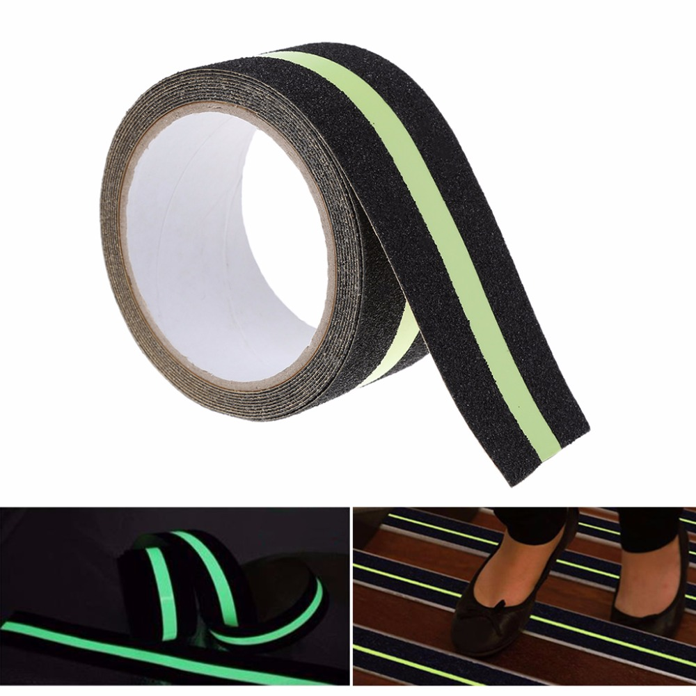 1PC 5cm x 3m Floor Safety Luminous Non Skid Tape Anti Slip Adhesive Stickers High Grip Stair Step Floor Tapes C26 5cm 5m frosted surface anti slip tape abrasive for stairs tread step safety tape non skid safety tapes