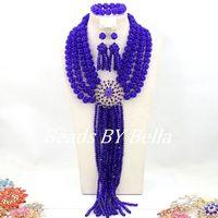 Королевский синий индийская свадьба Ювелирные наборы костюм хрустальные бусины ожерелье набор африканские бусины комплект ювелирных изде