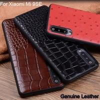 Genuine Leather mobile phone case For Xiaomi Mi 9SE Crocodile pattern protective case For Xiaomi Mi 9 SE Shell Back Cover