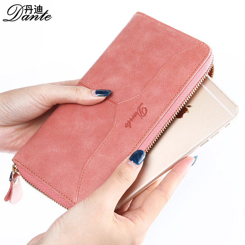 DANTE luxury genuine leather women wallets long zipper clutch purse lady brand vintage wallet luxury brand vintage handmade genuine vegetable tanned cow leather men women long zipper wallet purse wallets clutch bag for man