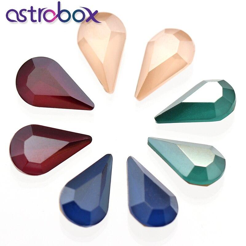 50Pcs Vintage Crystal Stone K9 Glass Drop 8*13MM MK Color Loose Diamond Fancy Stone Rhinestones for Jewelry Making Dress Garment