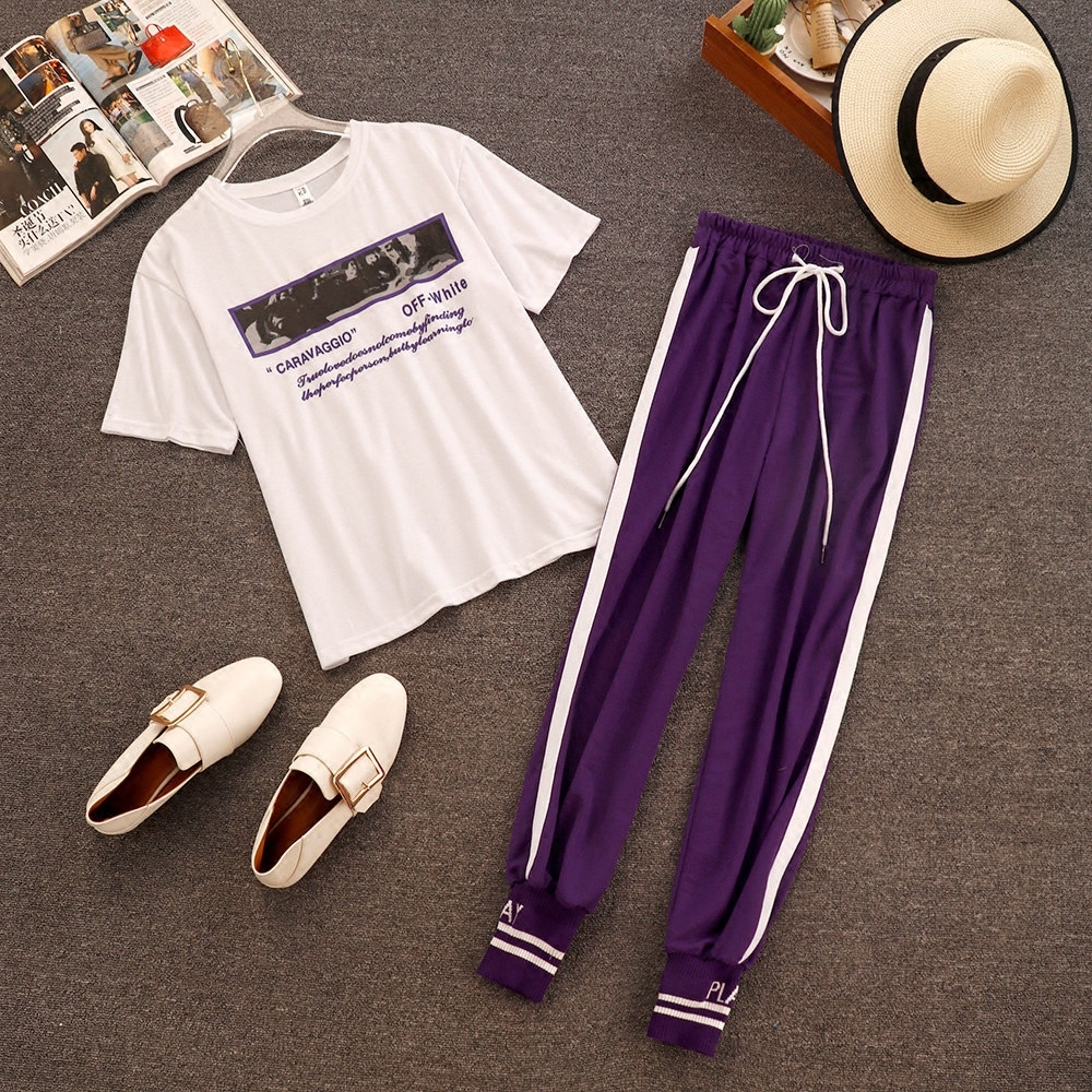 2018 Summer New Fashion Women White Letter Print Casual T-shirts + Elastic Waist Lace-up Side Striped Pencil Pants 2 Piece Sets 2