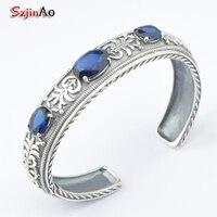 Szjinao Vintage Style Romantic Solid Silver 925 Heart Charm Bracelet for Women Dark Blue CZ Fit Original Bracelets DIY Jewelry