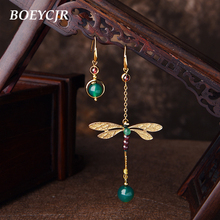 BOEYCJR Ethnic Vintage Dragonfly Stone Bead Asymmetric Dangle Earrings Fashion Jewelry Drop Hook Earrings For Women Gift 2018