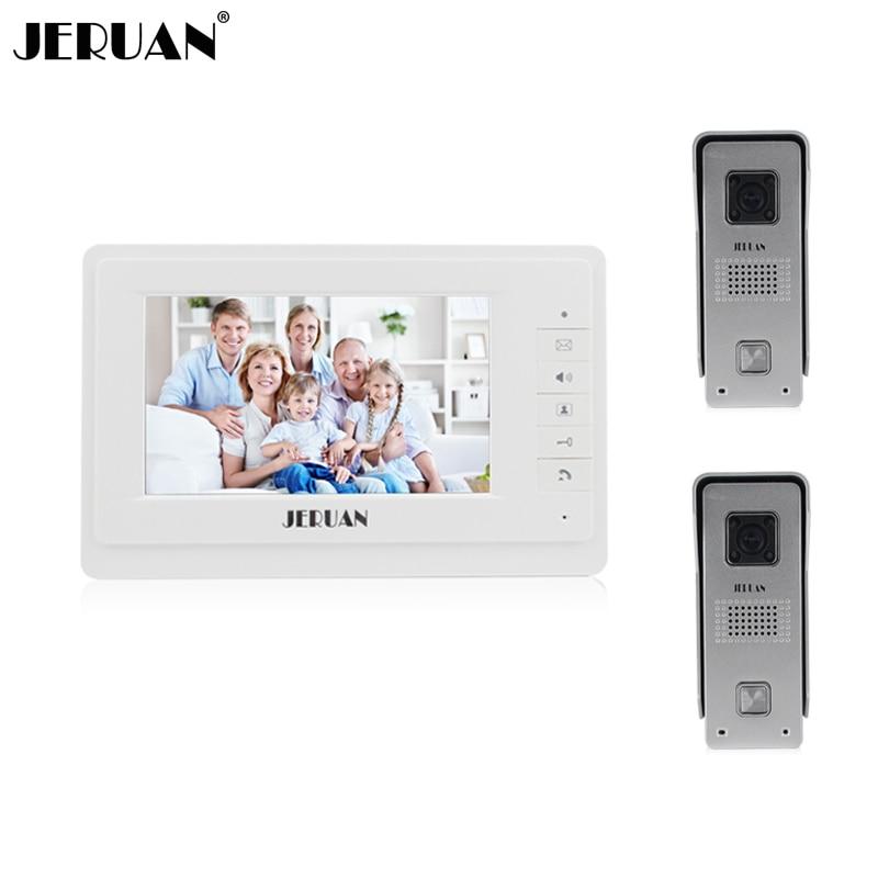 JERUAN 7 inch video door phone intercom system doorbell speaker intercom video doorphone 700TVL Camera hands-free intercom