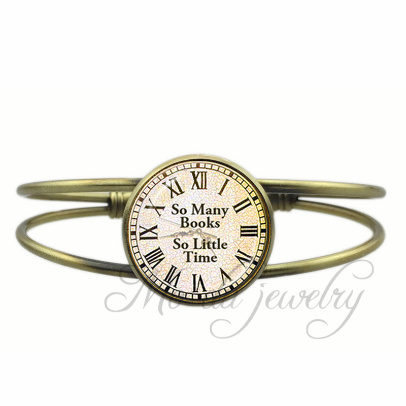 Quote Bangles So Many Books So Little Time Watch Open Cuff Bangle