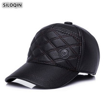 SILOQIN Middle Aged Elderly Men Autumn Winter Trend Cortex Baseball Cap Adjustable Thicken Keep Warm Earmuffs Tongue Dad Hat