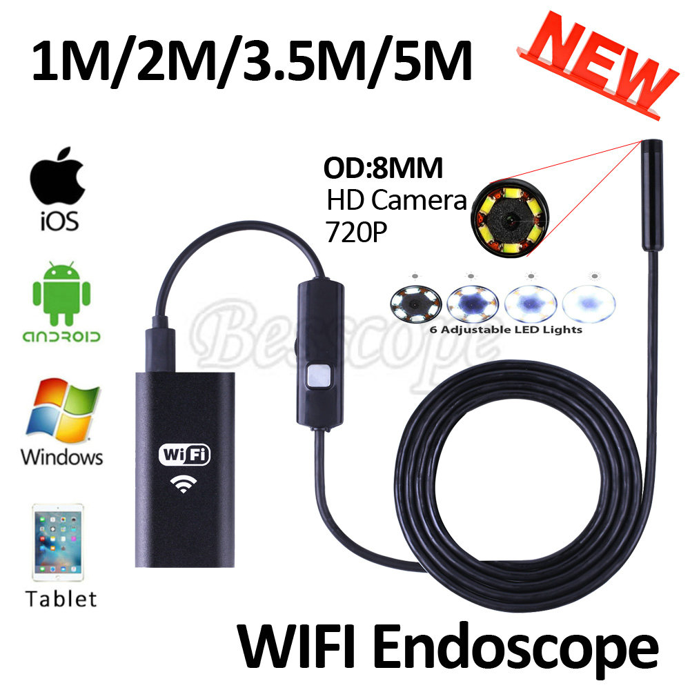 Hd720p 8mm lens wifi endoscope camera 5m 3 5m 2m 1m snake usb iphone android borescope