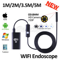 Hd720p 8mm lens wifi endoscópio camera 5 m 3.5 m 2 m 1 m endoscópio usb cobra iphone android ios tablet câmera endoscópio sem fio