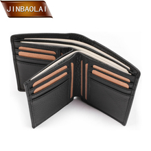 JINBAOLAI  Men's Genuine Leather Wallet Business Casual Credit Card ID Holder Coin Purse Multi-Functional Short Wallet carteira