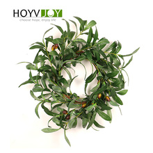 HOYJOY Olive branch Artificial wreaths garland fruit Flower Round For Christmas Decoration wedding party Wall Door Decoration merry christmas reindeer olive branch print round beach throw