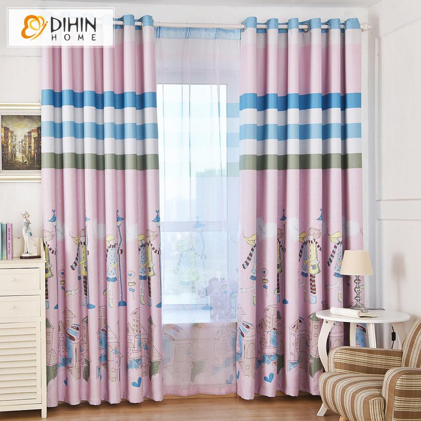 corea impreso cortinas para nios girls room tratamiento de la ventana cortina escarpada para sala de