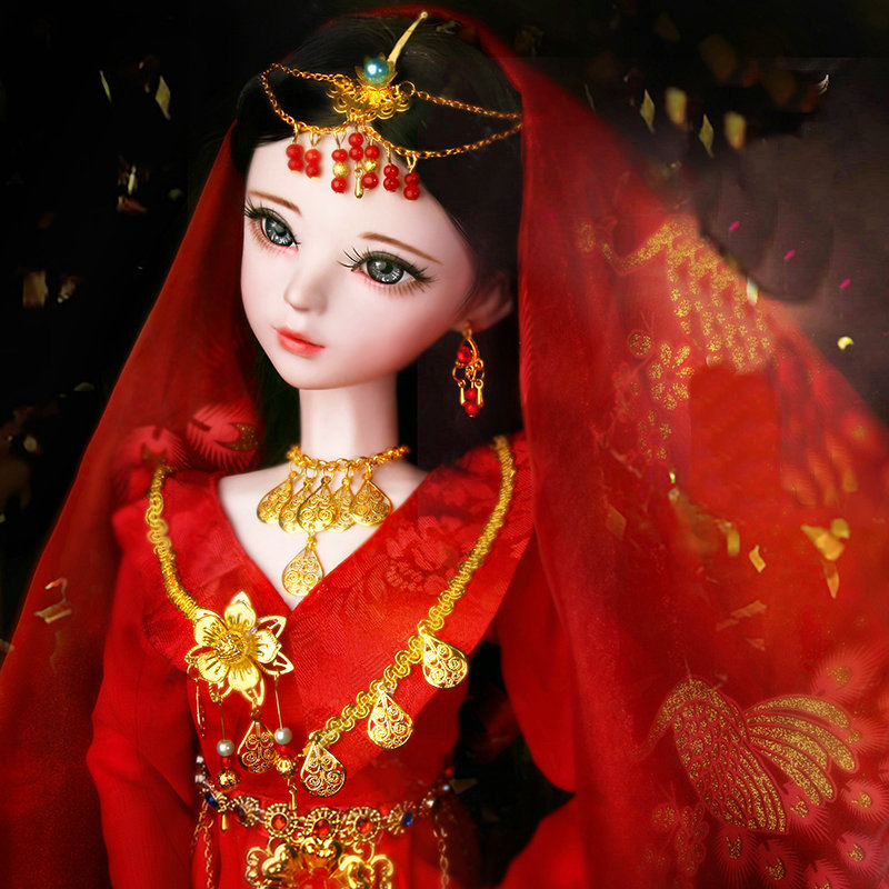 Handmade 1 3 Bjd Dolls Full Set 60CM Red Dress Chinese Costume Bride Doll Large Articulated