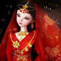 Handmade 1/3 Bjd Dolls Full Set 60CM Red Dress Chinese Costume Bride Doll Large Articulated Doll Girls Toys for Children Dolls