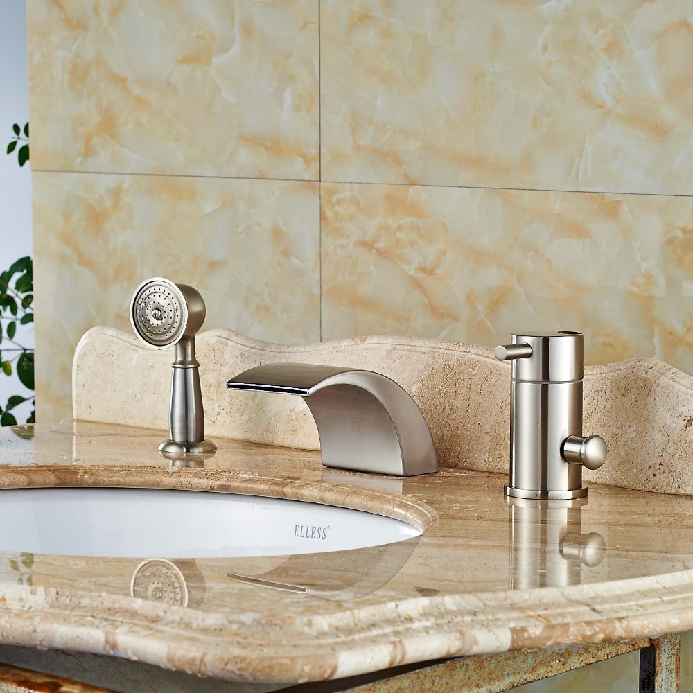 Brushed Nickel Deck Mounted Single Handle Bathtub