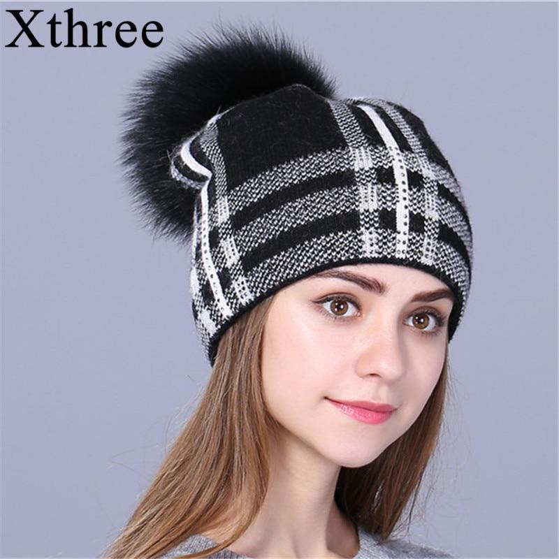 Xthree γυναικείο καπέλο χειμώνα φθινοπώρου για το κορίτσι πλεκτό καπέλο πλεκτά 2017 νέα μόδα γυναικεία καπέλο Skullie μαλλί κορίτσι