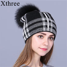 Xthree women autumn winter hat for girl knitted beanies hat 2017 new fashion Female Skullie girl wool cap(China)