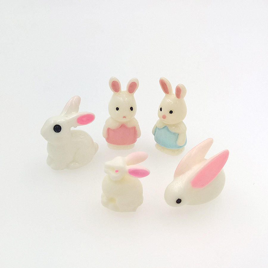 Beads & Jewelry Making 20x Mini Three-dimensional Resin Rabbit Charms Filler For Glass Globe Miniature Animal Shape Beads Handmade Jewelry Findings Be Novel In Design