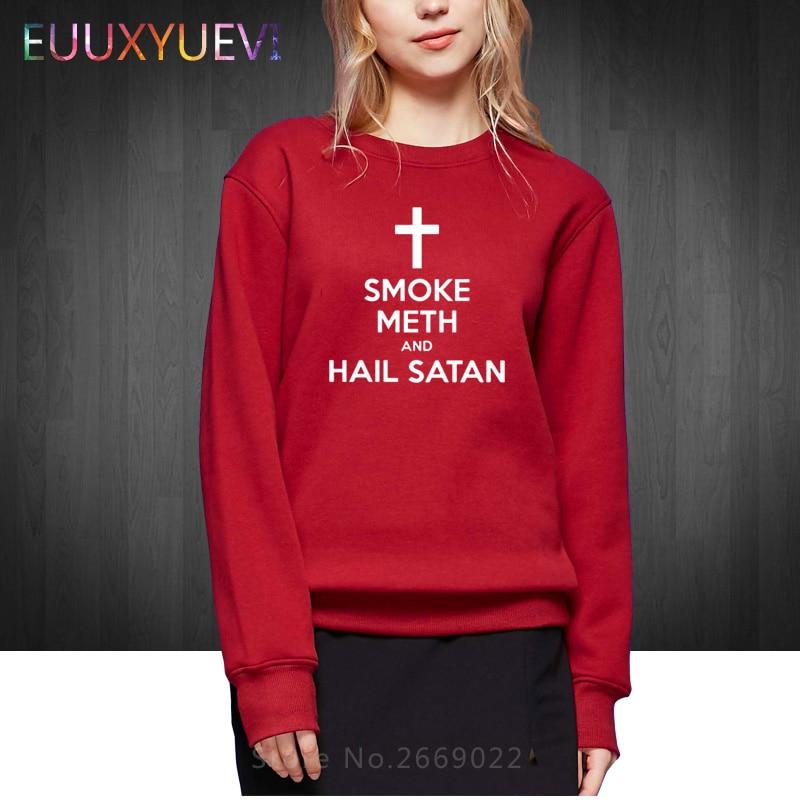 Winter Autumn Style Fashion SMOKE METH HAIL SATAN Women Hoodies Casual Woman Pullover O-Neck Cotton Sweatshirts Brand Clothing